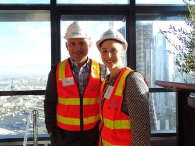 Hickory's Michael Argyrou with Victorian  parliamentary secretary Gabrielle Williams.