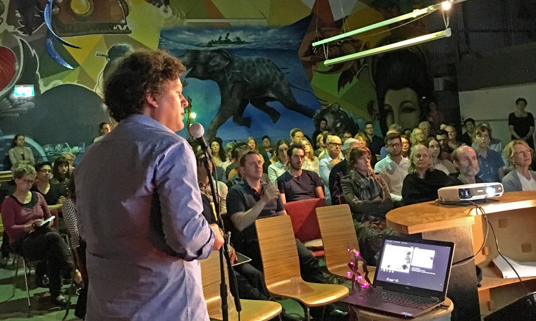 Josh Byrne addressing the baugruppen information night crowd