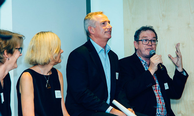 Professor Peter Phibbs (speaking) with panellists (L-R) Stephanie Barker, Greater Sydney Commission; Wendy Hayhurst, NSW Federation of Housing Associations; and Nigel Edgar, Frasers Property Australia.