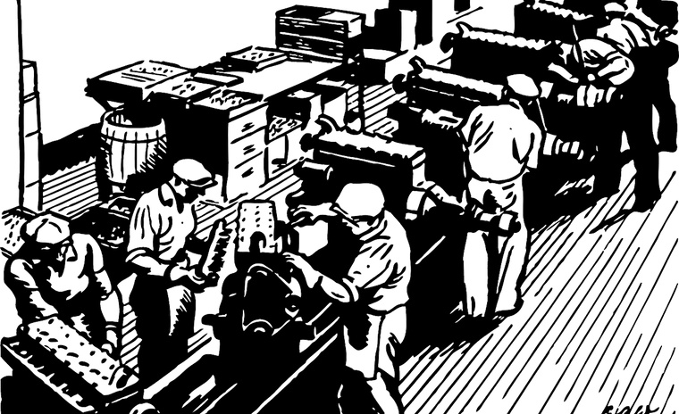 black and white illustration factory worker industrial