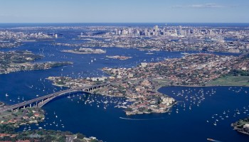 Sydney parramatta river and the Gladesville bridge aerial city