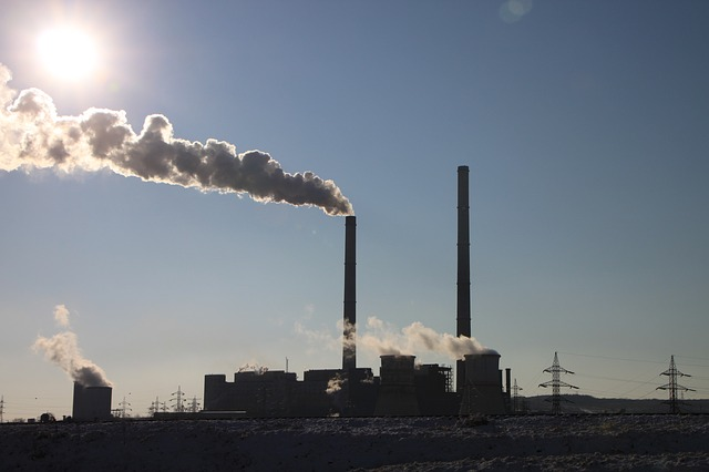 factory, pollution, greenhouse gas,