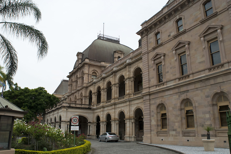 Front exterior facade of the Brisbane Parliament House which is the meeting place of the Parliament of Queensland, housing the Legislative Assembly.