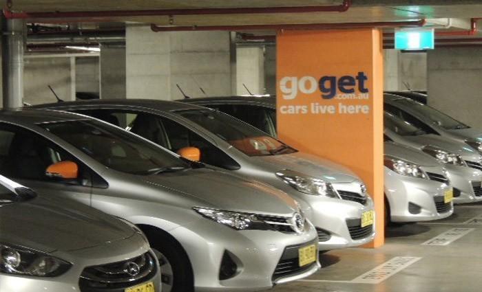 Fleet of goget cars carpark