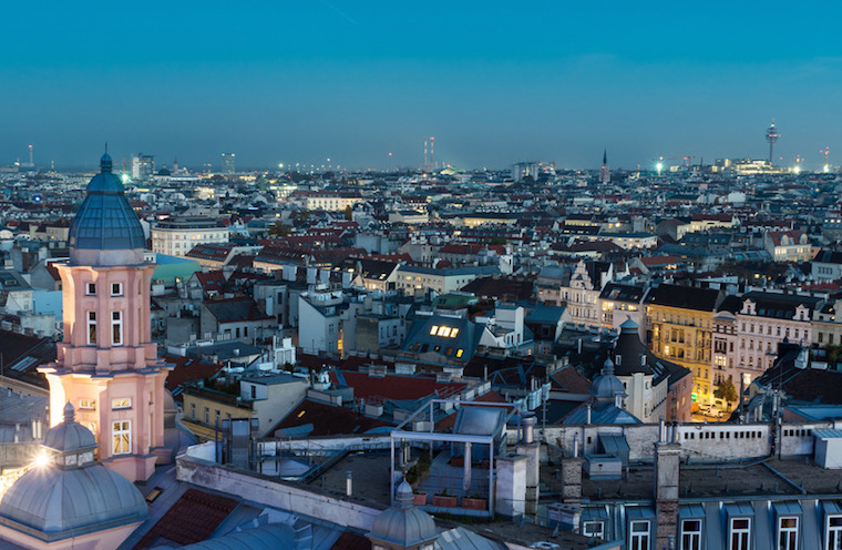 Vienna at night, high angle view of austrias capital city