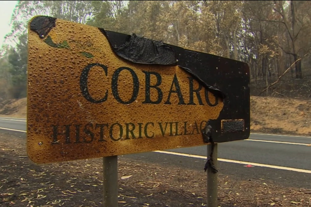 cobargo town sign burnt