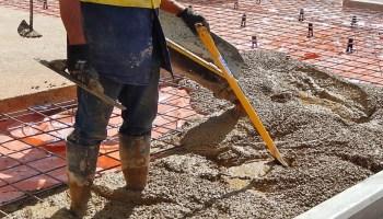 pouring concrete