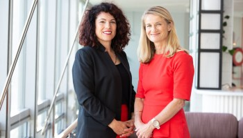 Dr Rebecca Huntley with Aware Super chief executive Deanne Stewart