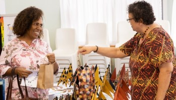 woman buying indigenous products