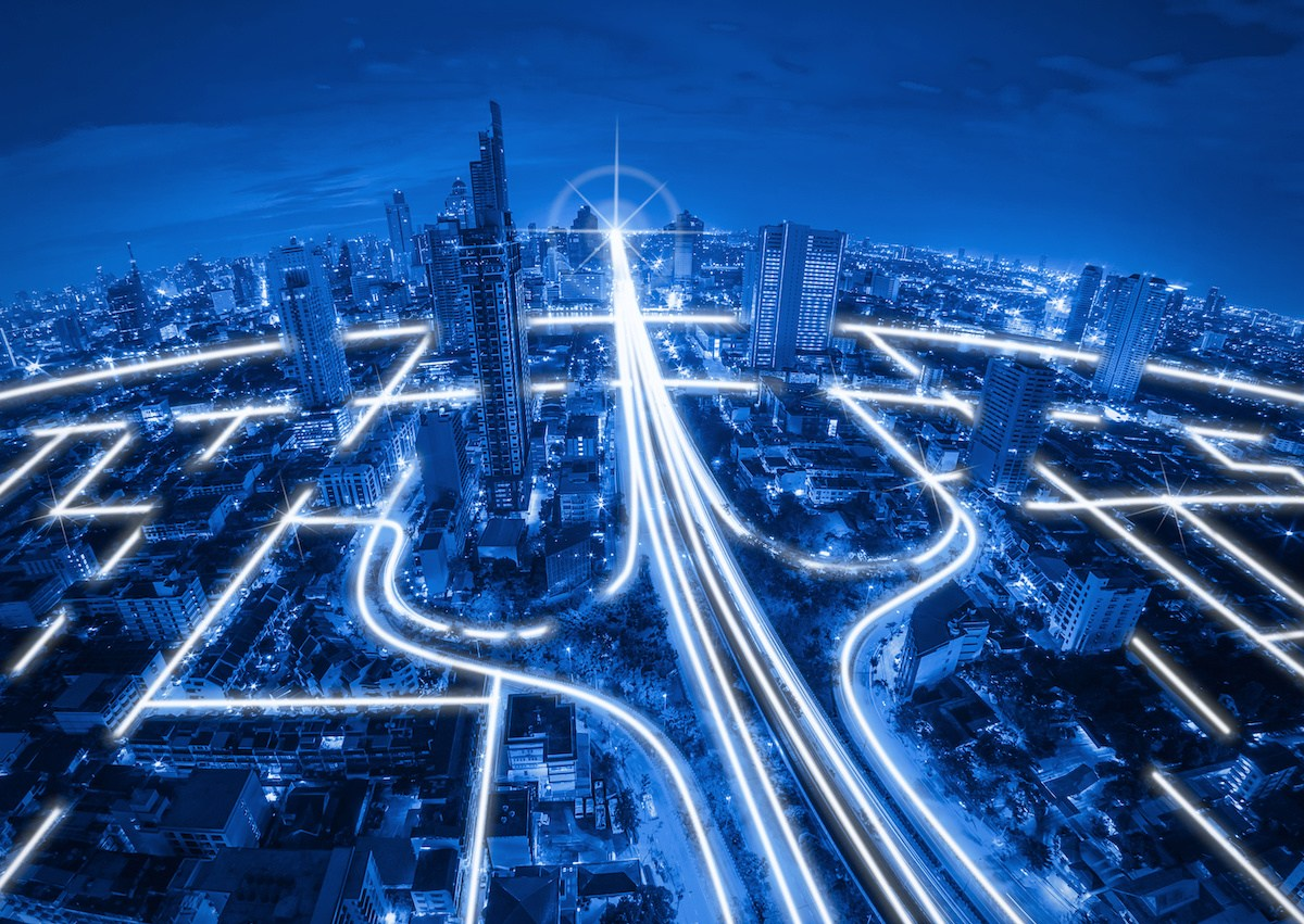 City scape and network connection concept, Blue tone.