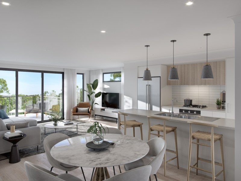render of an kitchen and dining
