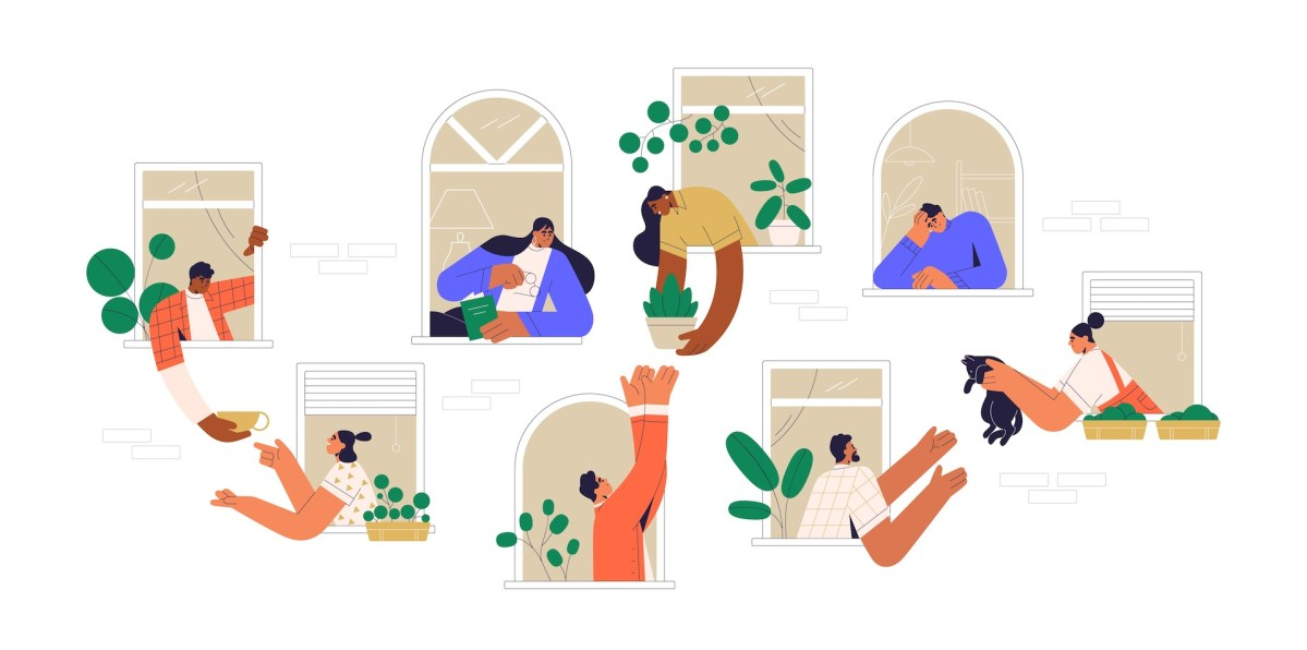 Neighbors sharing things and helping each other through open windows of house. Concept of good neighborhood, people's unity, mutual aid and support. Colored flat vector illustration isolated on white.