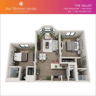 The Valley 2 bedroom floor plan diagram