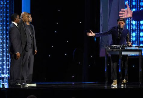 Lee onstage with some of his legendary leading men, Wesley Snipes, Samuel L. Jackson and Denzel Washington