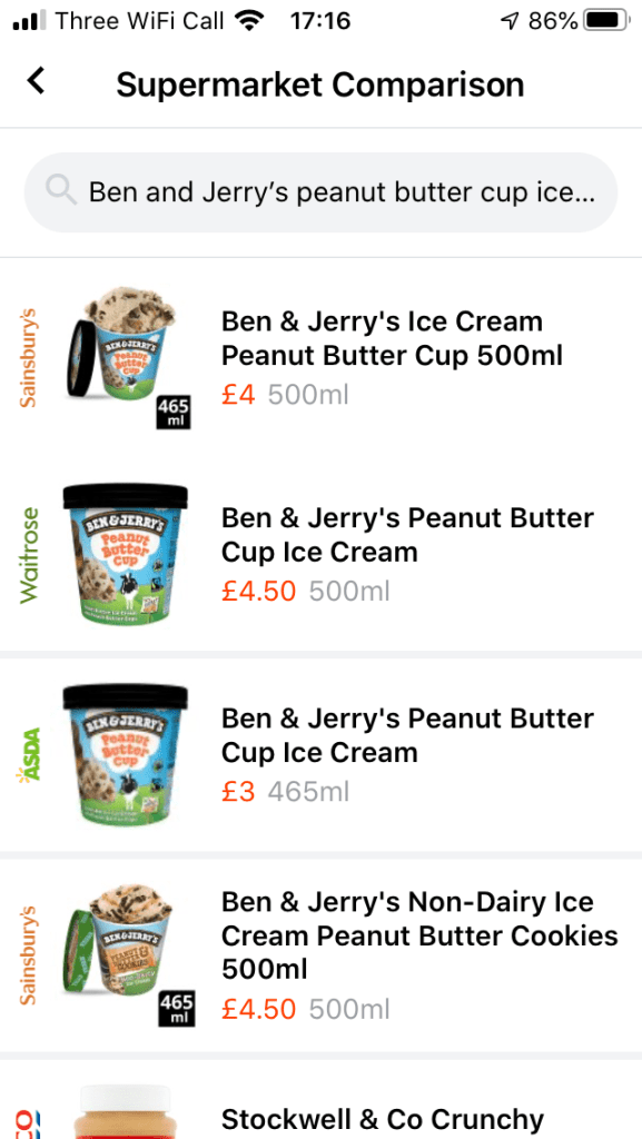 Showing comparative results for buying Ben and Jerry's on Latest Deals.
