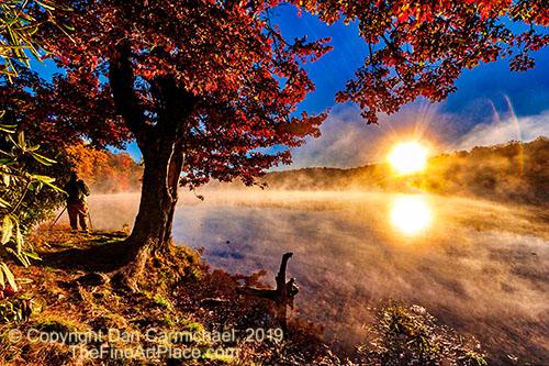 Autumn sunrise at Price Lake on the Blue Ridge Parkway in North Carolina.
