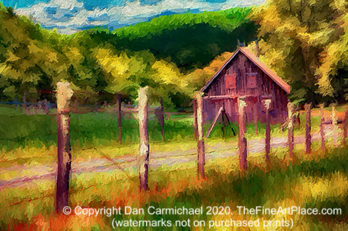 A painting of an old barn on the Blue Ridge Parkway in North Carolina