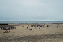 People on West Runton Beach