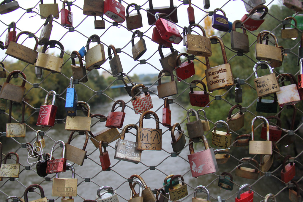 Graz - locks on the bridge over the Mur River. Helen Hayes