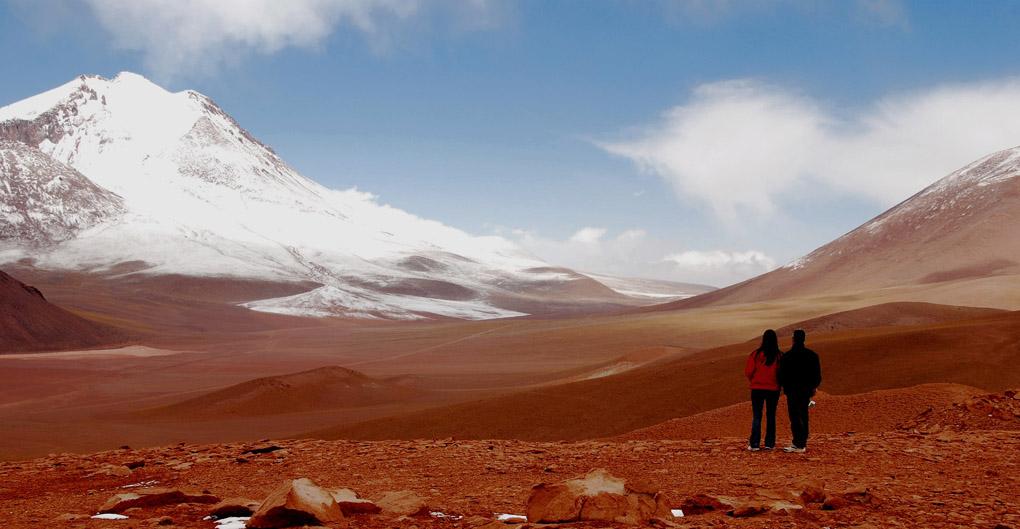 South America; Chile; Atacama Desert; A couple in the Desert