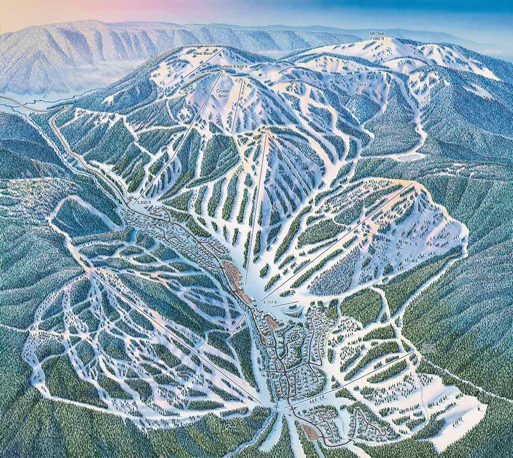 Sun Peaks, Canada, James Niehues, art, artist, hand painted, trail maps
