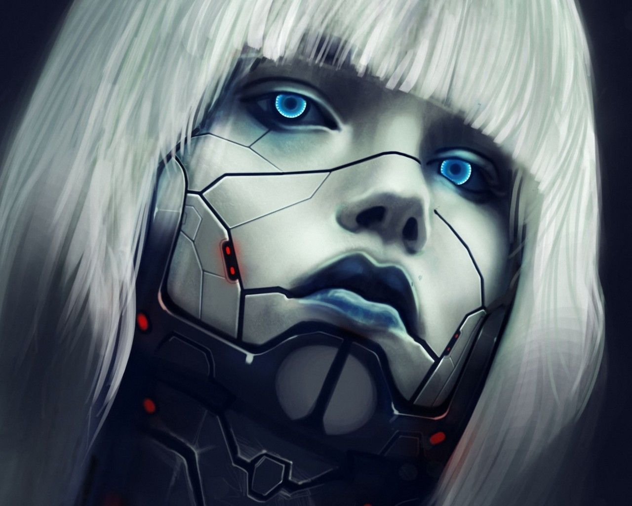 Writing prompt: Close-up of the cracked face of an android woman. Blue eyes shine out from beneath a ragged white fringe of hair.