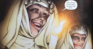 Little Sisters Of Eluria, vampire nuns. Text: But that's eventually, as you say. Still...