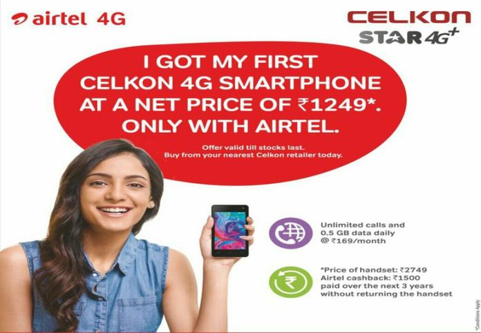 Airtel launches Celkon Star 4G+ smartphone at Price of Rs 1249/-