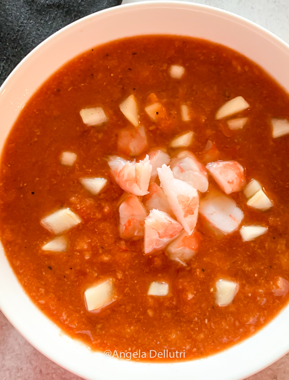 Bloody Mary Gazpacho with Shrimp