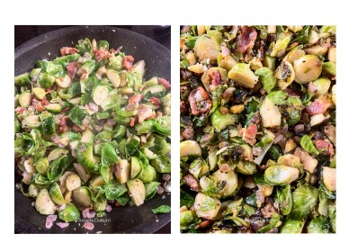Brussels Sprouts, Bacon, Chestnuts, Onions