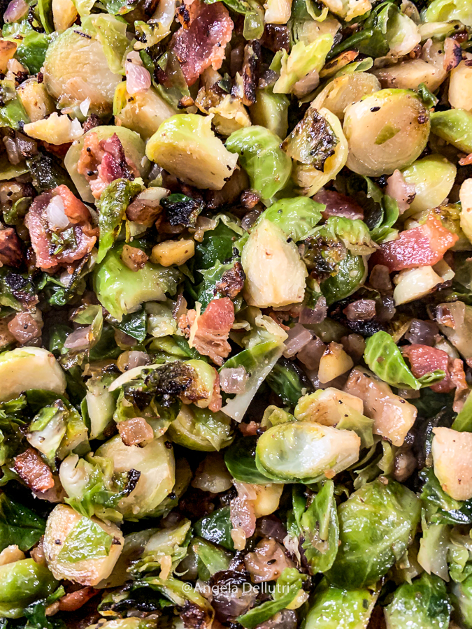 Brussels Sprouts with Bacon, Chestnuts and Onions
