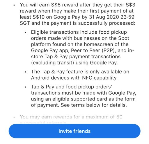 Google Pay Eligible Transactions