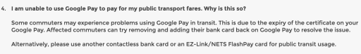 Google Pay Public Transport Error
