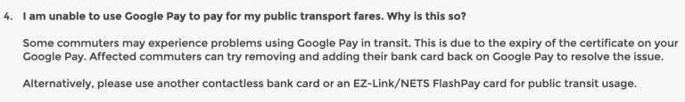 Google Pay Public Transport Error