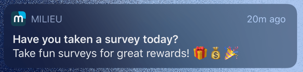 Milieu Survey Notification