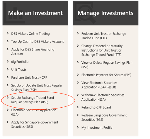 POSB DBS Invest Saver Set Up RSP 2.1