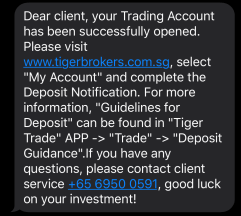 Tiger Broker Successful Account Opening SMS