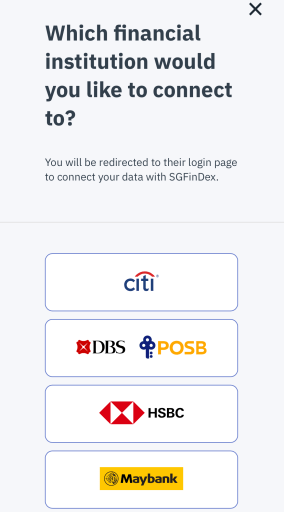 SGFinDex Connect to Financial Institution