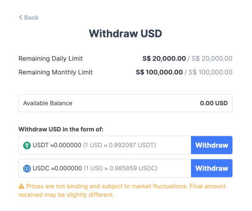Coinhako Withdraw USD