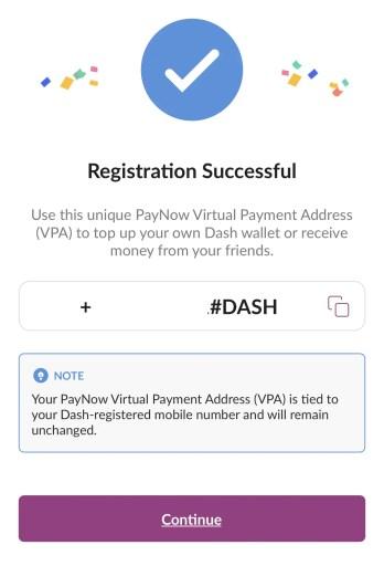 Singtel Dash Registration Successful