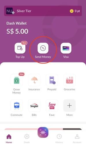 Singtel Dash Send Money Dashboard