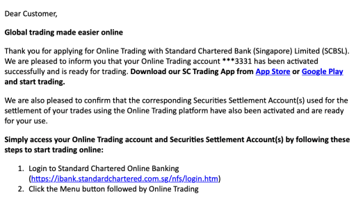 Standard Chartered Online Trading Confirmation Email
