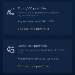 Syfe Portfolio Selection Equity 100 vs Global ARI