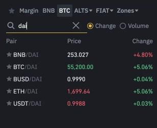 Binance DAI Trading Pairs