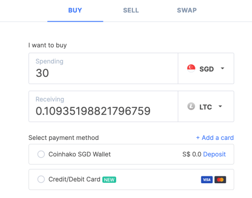 Coinhako Buy LTC On Platform