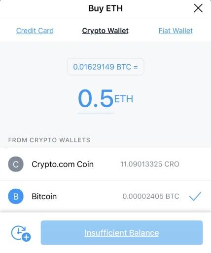 Crypto.com Buy ETH Using Crypto Wallet