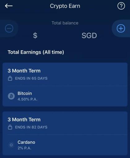 Crypto.com Earn App Platform