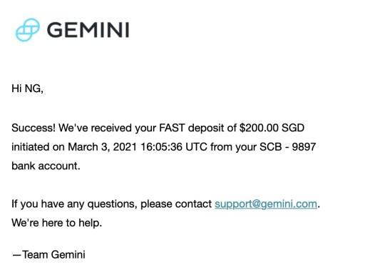 Gemini Received Deposit