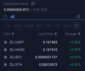 Huobi ZIL Trading Pairs