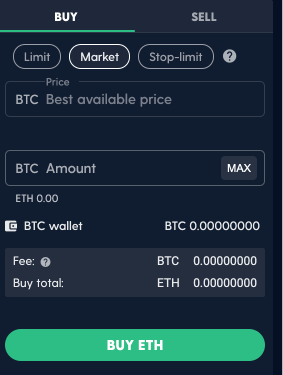 Luno Exchange BTC ETH Trading Pair